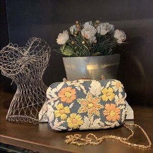 Chambray embroidered bag Detachable chain strap
